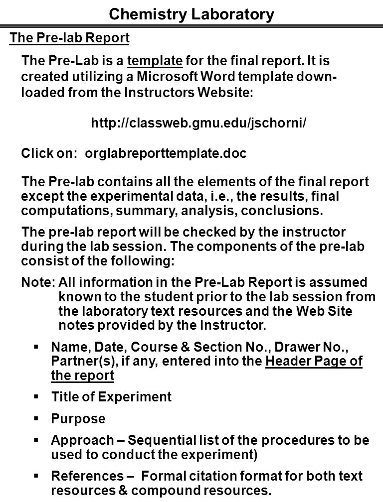 how to write a chemistry lab report procedure