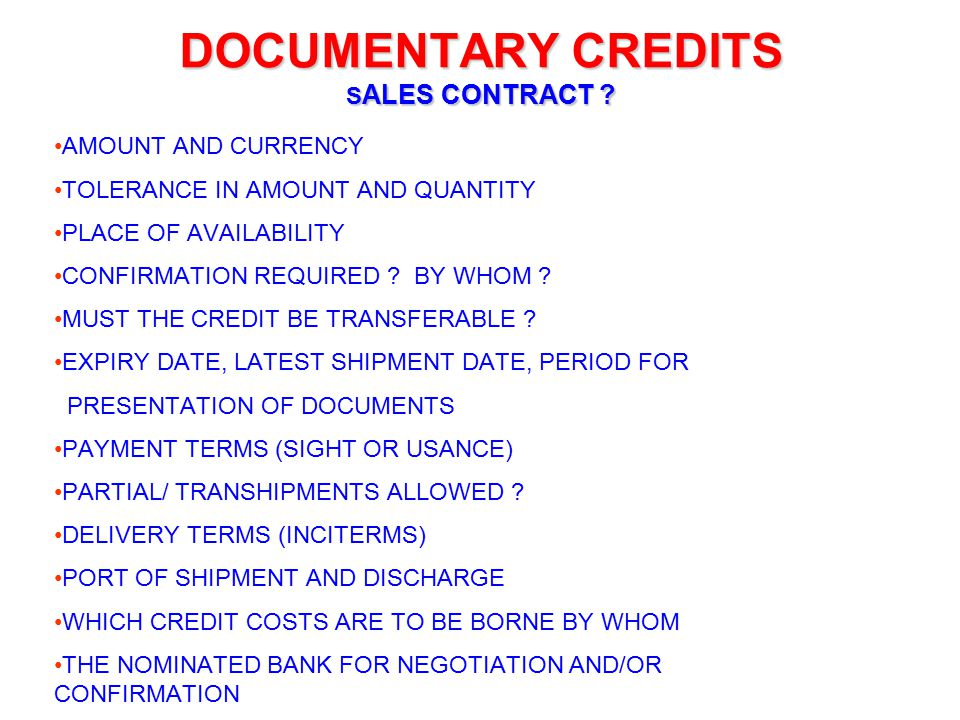 DOCUMENTARY CREDITS SALES CONTRACT