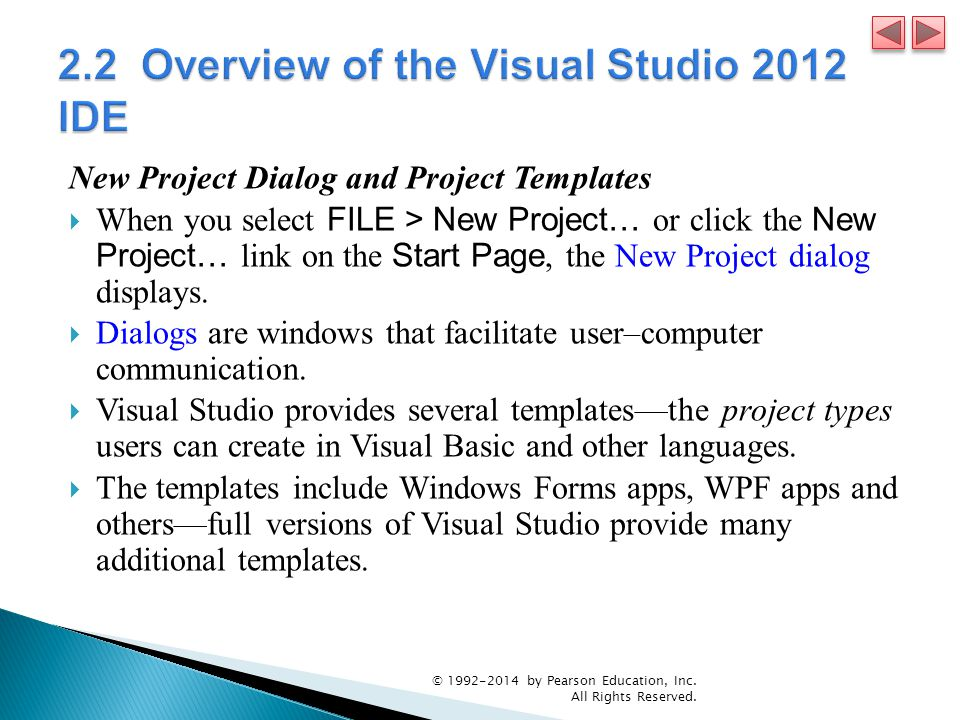 2.2 Overview of the Visual Studio 2012 IDE