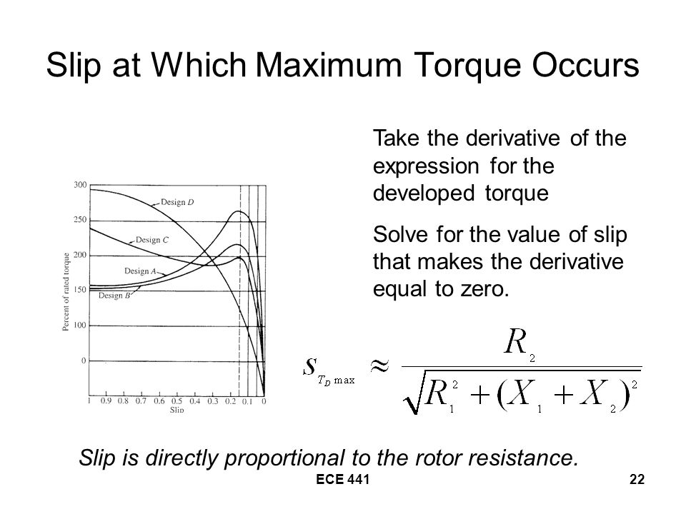 Slip at Which Maximum Torque Occurs