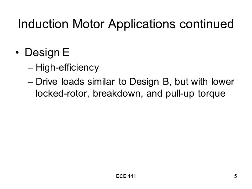 Induction Motor Applications continued