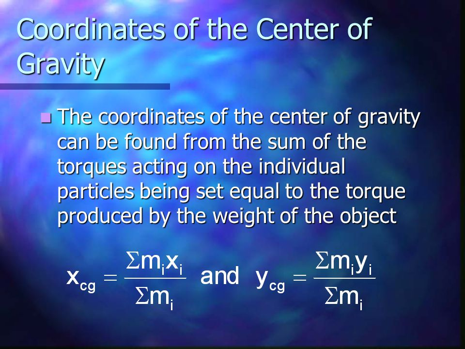 Coordinates of the Center of Gravity