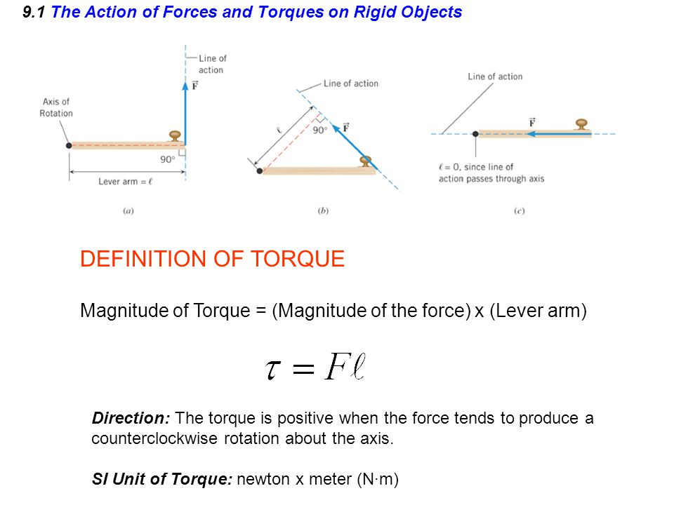9.1 The Action of Forces and Torques on Rigid Objects