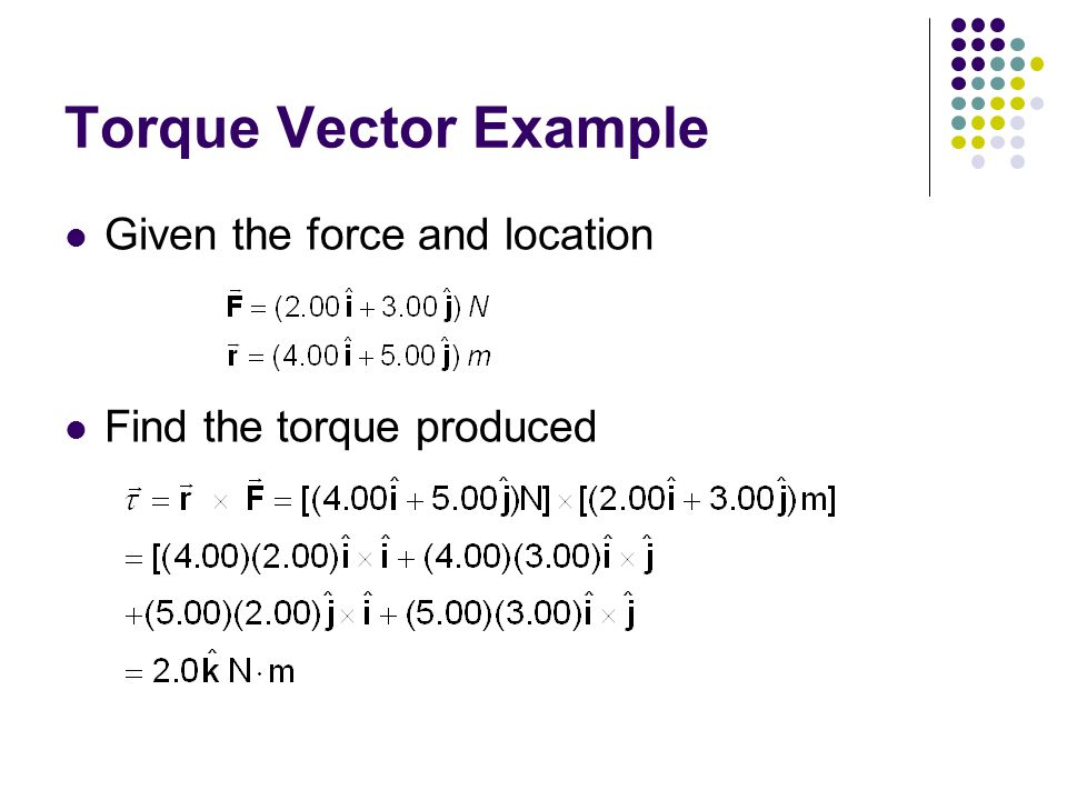 Torque Vector Example Given the force and location