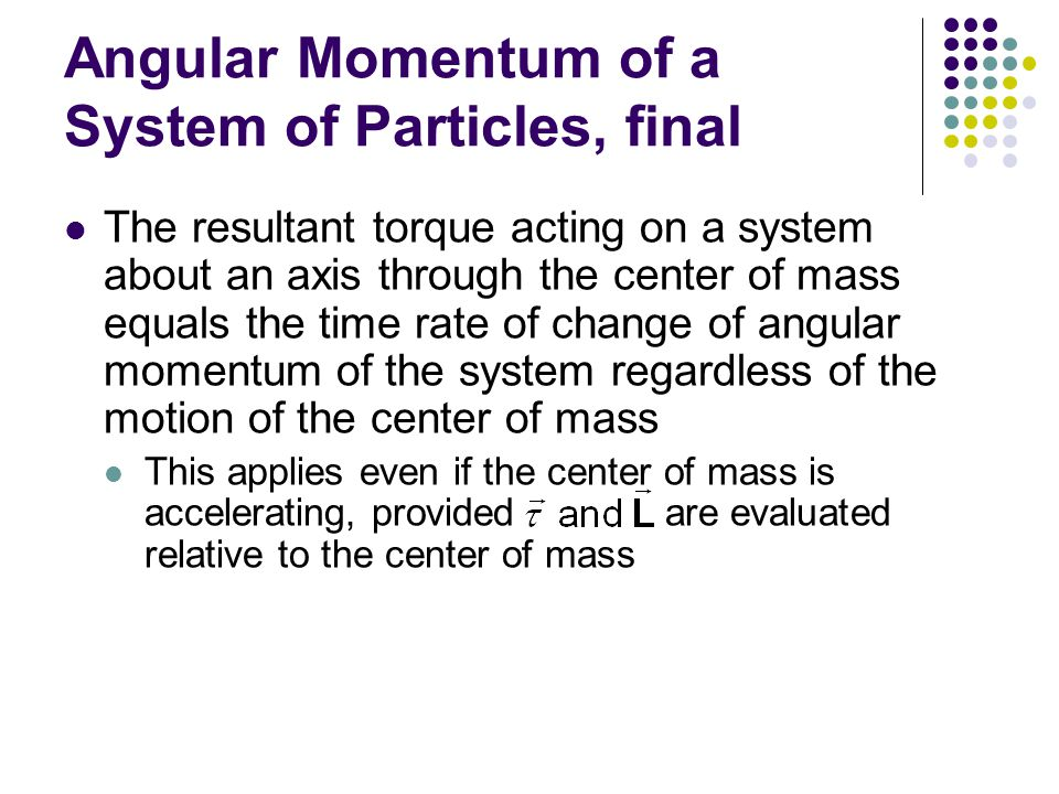 Angular Momentum of a System of Particles, final