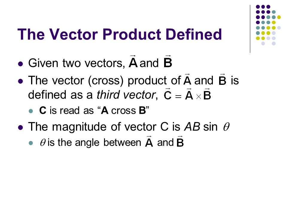 The Vector Product Defined