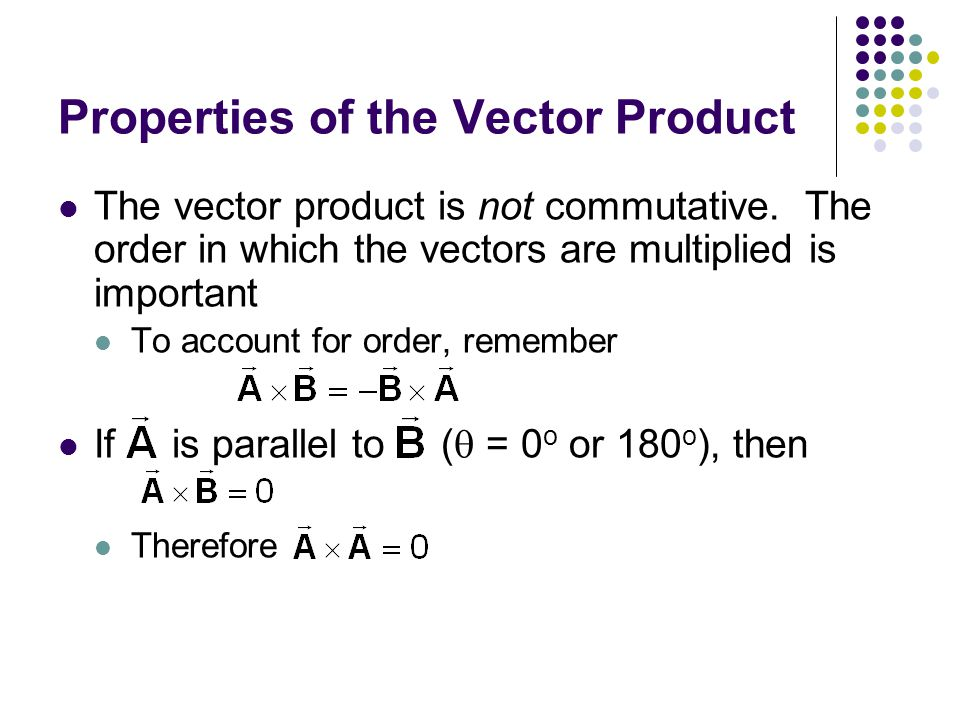 Properties of the Vector Product