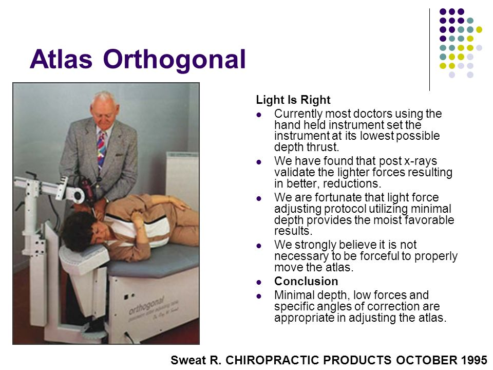 Atlas Orthogonal Sweat R. CHIROPRACTIC PRODUCTS OCTOBER 1995