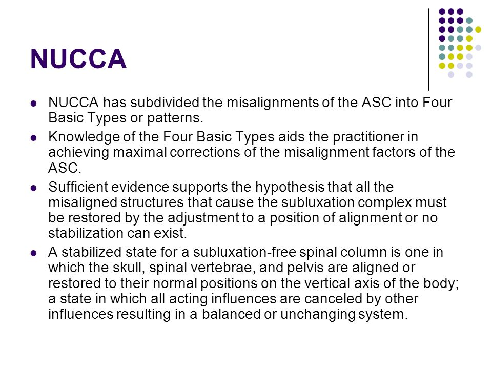 NUCCA NUCCA has subdivided the misalignments of the ASC into Four Basic Types or patterns.