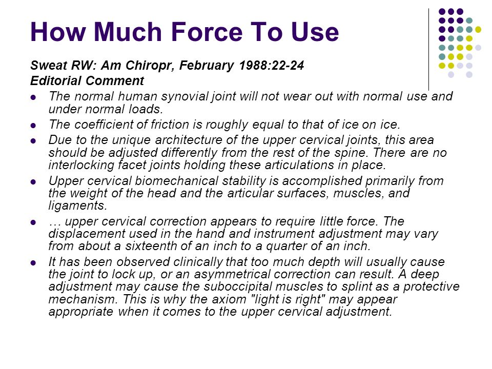 How Much Force To Use Sweat RW: Am Chiropr, February 1988:22-24