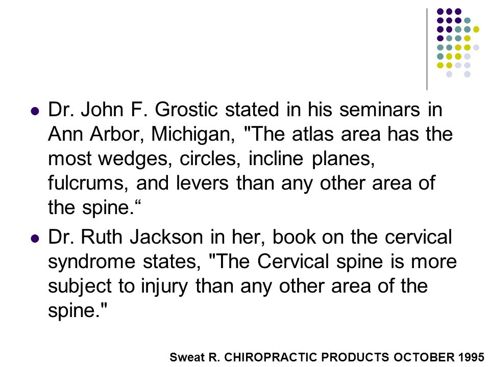 Dr. John F. Grostic stated in his seminars in Ann Arbor, Michigan, The atlas area has the most wedges, circles, incline planes, fulcrums, and levers than any other area of the spine.