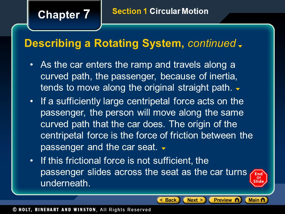 Describing a Rotating System, continued