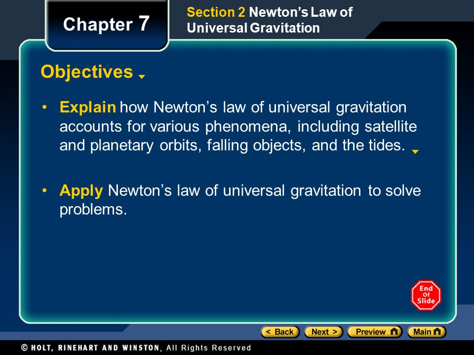 Section 2 Newton's Law of Universal Gravitation