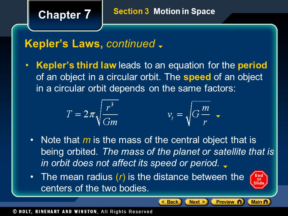 Kepler's Laws, continued