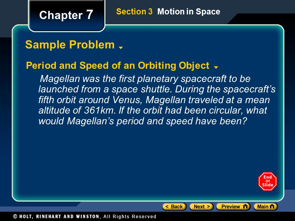 Chapter 7 Sample Problem Period and Speed of an Orbiting Object
