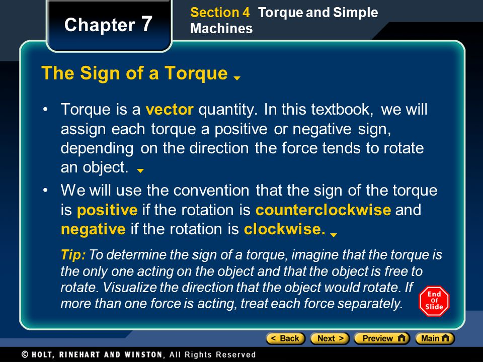 Chapter 7 The Sign of a Torque