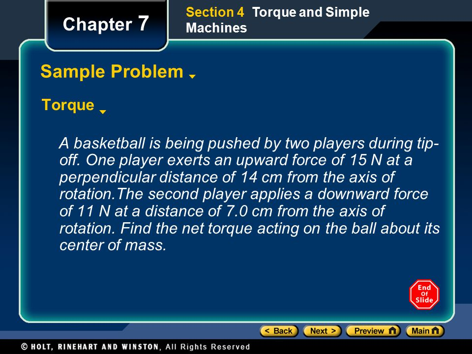Chapter 7 Sample Problem Torque