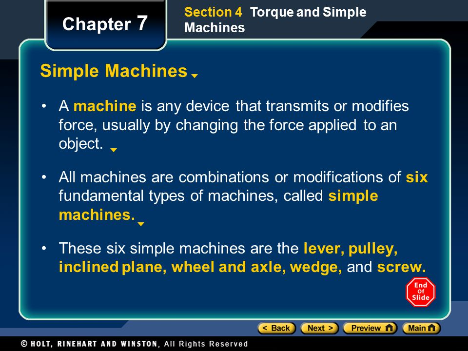 Chapter 7 Simple Machines