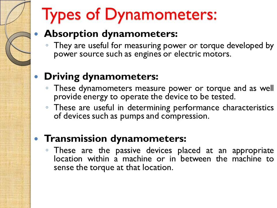 Types of Dynamometers: