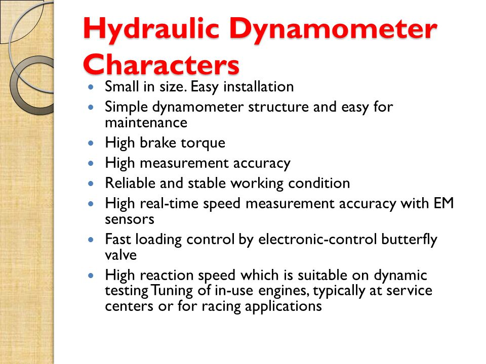 Hydraulic Dynamometer Characters
