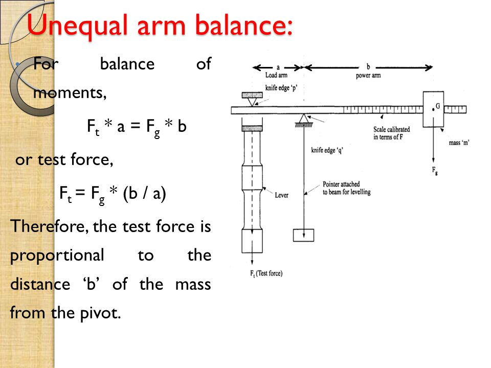 Unequal arm balance: For balance of moments, Ft * a = Fg * b