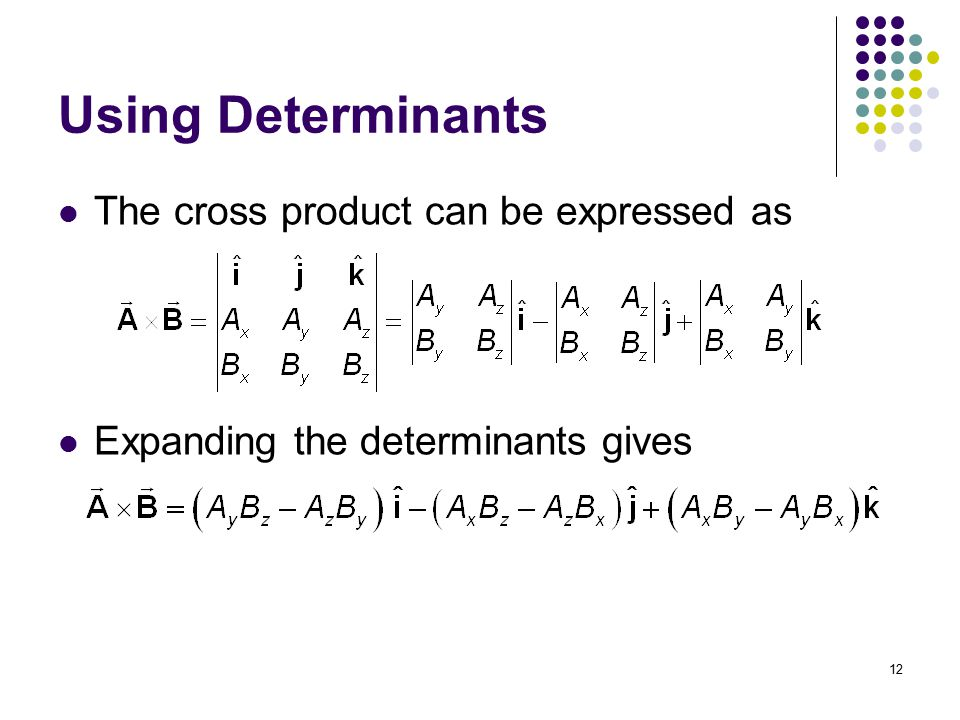 Using Determinants The cross product can be expressed as