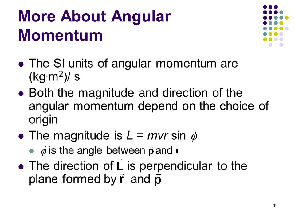 More About Angular Momentum