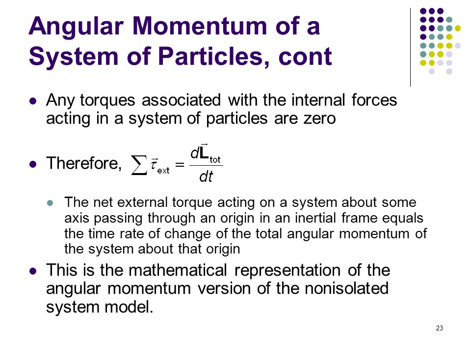 Angular Momentum of a System of Particles, cont