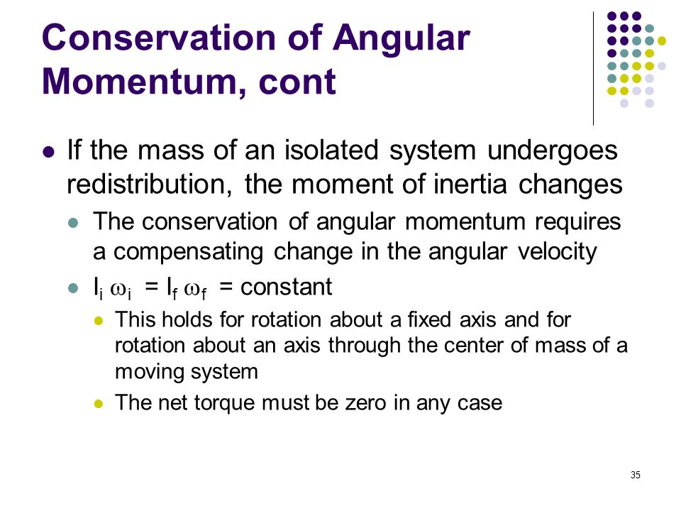 Conservation of Angular Momentum, cont