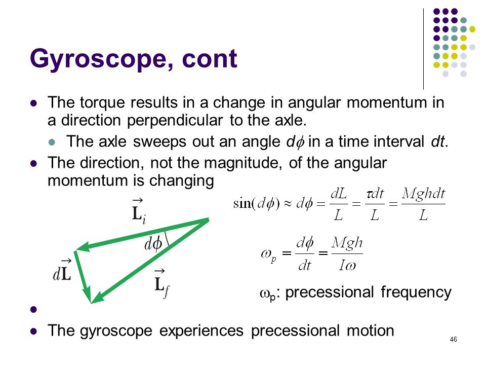 Gyroscope, cont The torque results in a change in angular momentum in a direction perpendicular to the axle.