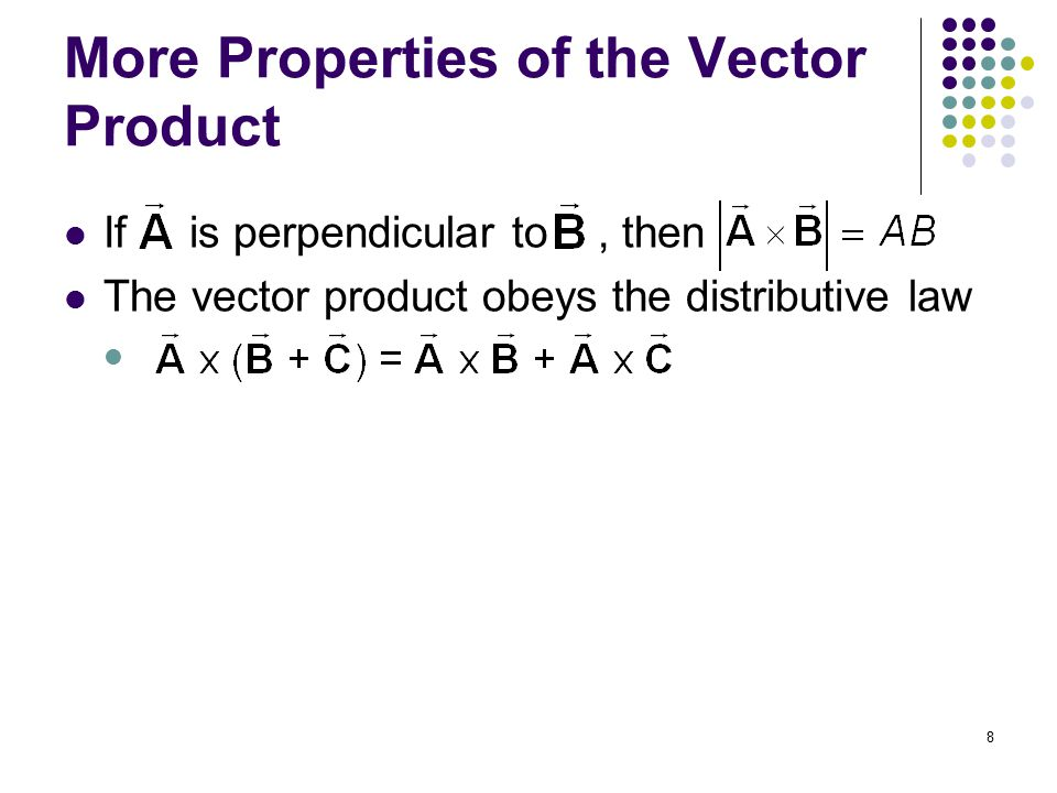 More Properties of the Vector Product
