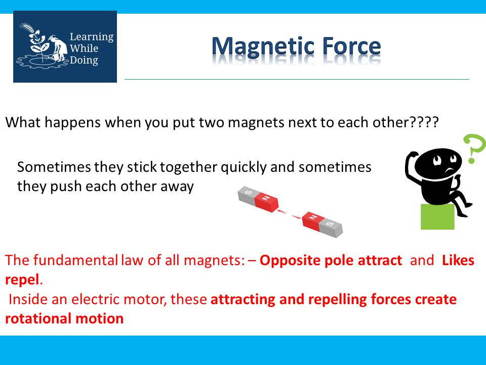 Magnetic Force What happens when you put two magnets next to each other