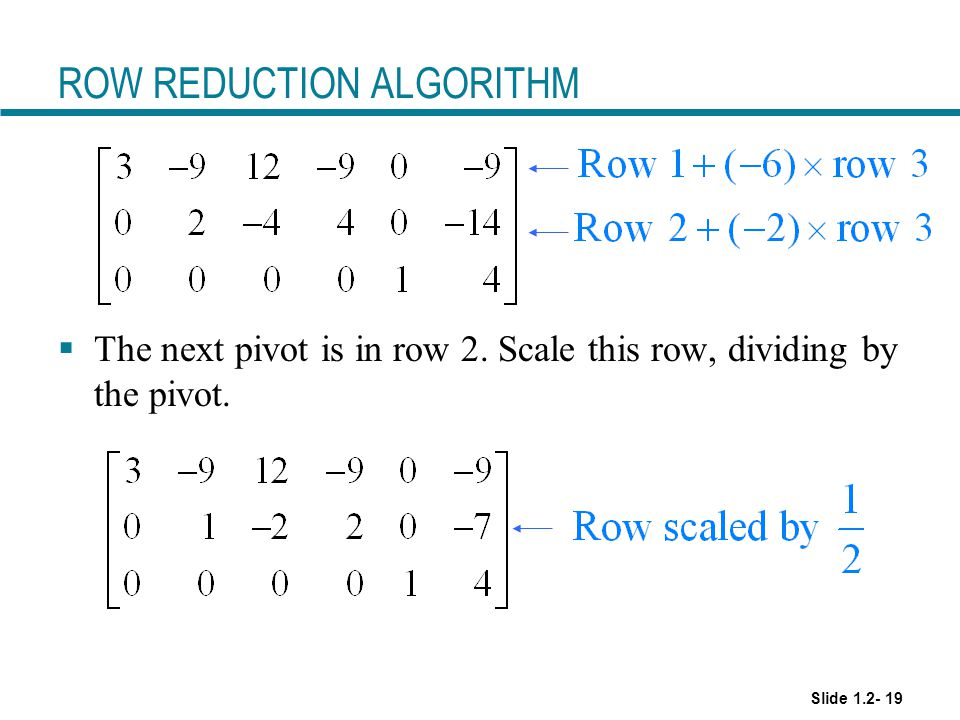 ROW REDUCTION ALGORITHM