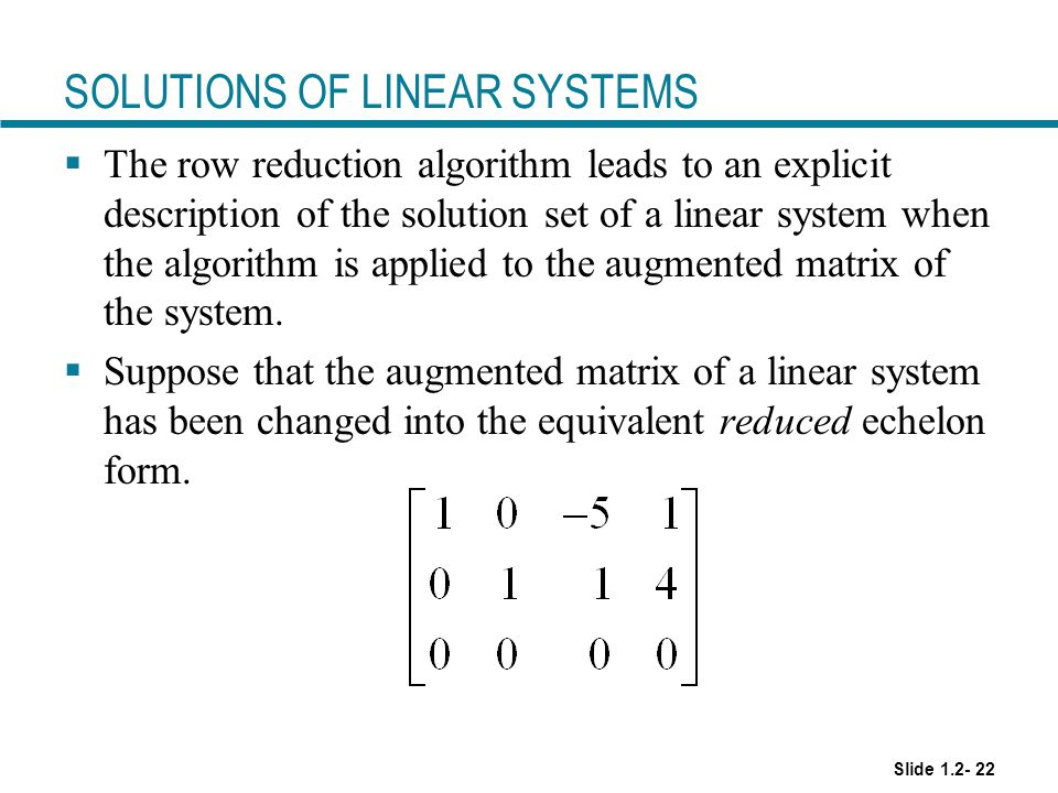 SOLUTIONS OF LINEAR SYSTEMS