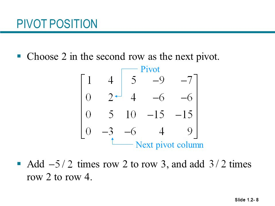 PIVOT POSITION Choose 2 in the second row as the next pivot.