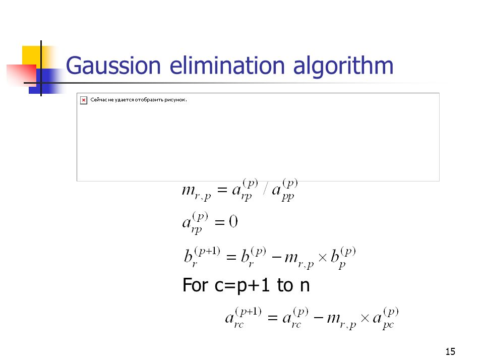 Gaussion elimination algorithm