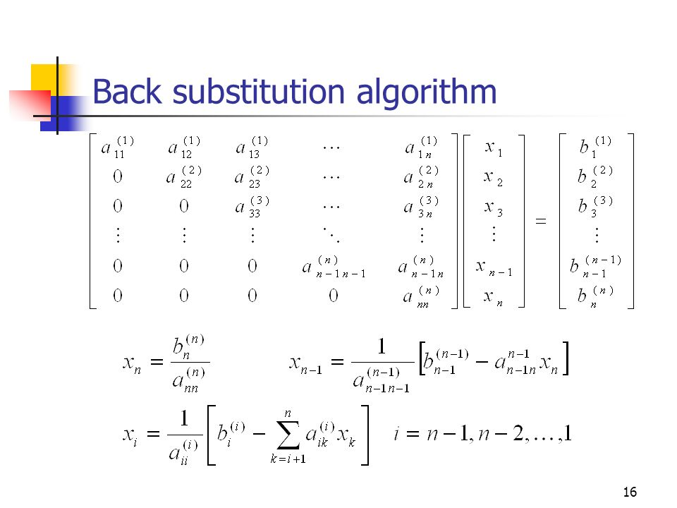 Back substitution algorithm