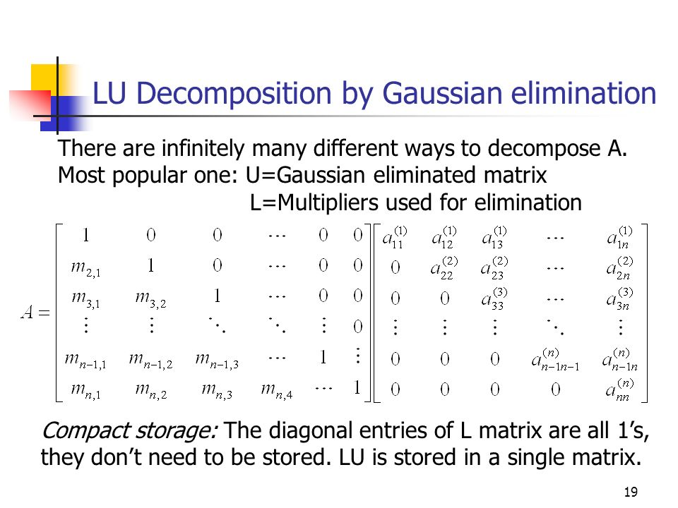 LU Decomposition by Gaussian elimination