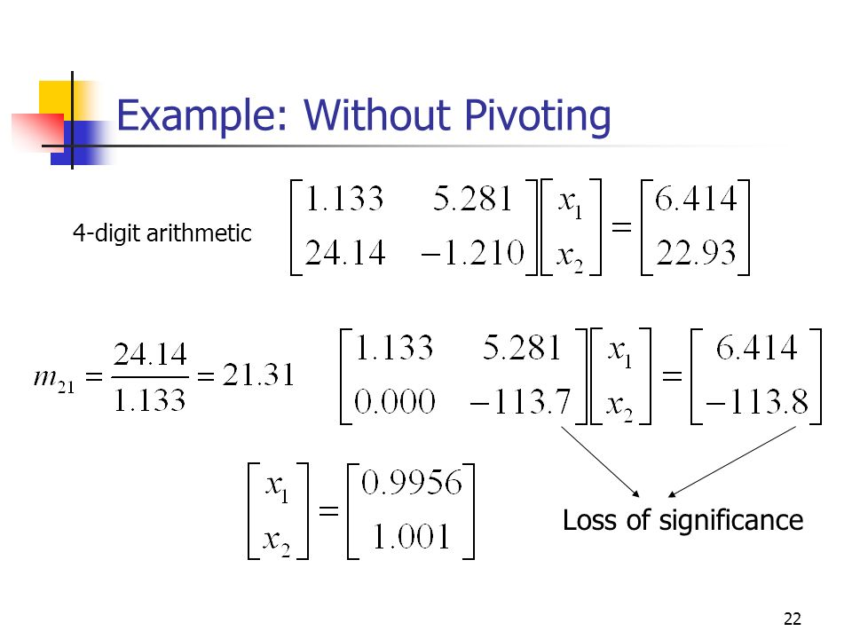 Example: Without Pivoting