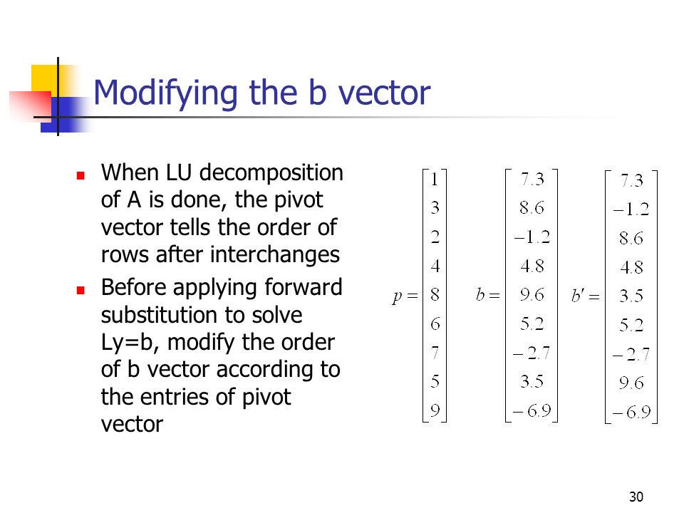 Modifying the b vector When LU decomposition of A is done, the pivot vector tells the order of rows after interchanges.