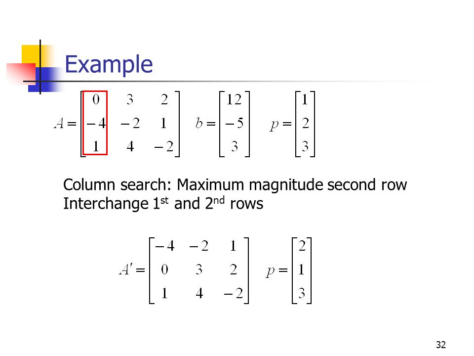 Example Column search: Maximum magnitude second row
