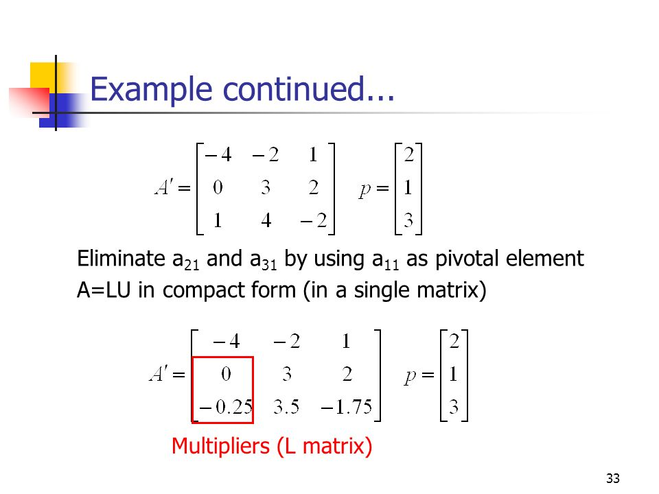 Example continued... Eliminate a21 and a31 by using a11 as pivotal element. A=LU in compact form (in a single matrix)