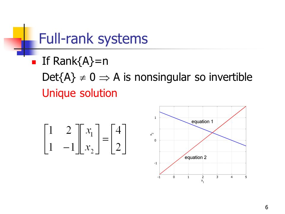 Full-rank systems If Rank{A}=n