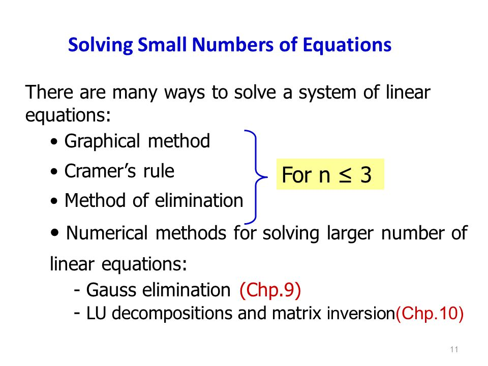Solving Small Numbers of Equations