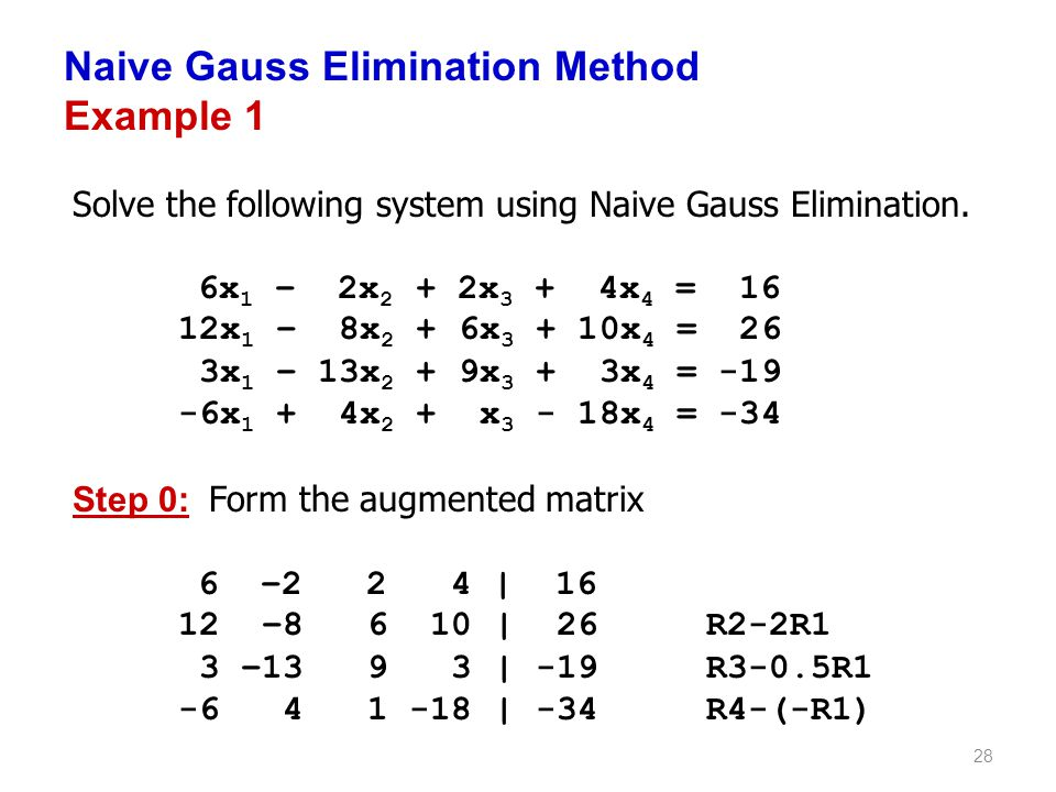 Naive Gauss Elimination Method Example 1