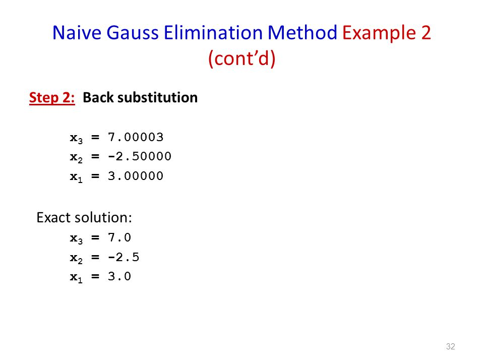 Naive Gauss Elimination Method Example 2 (cont'd)