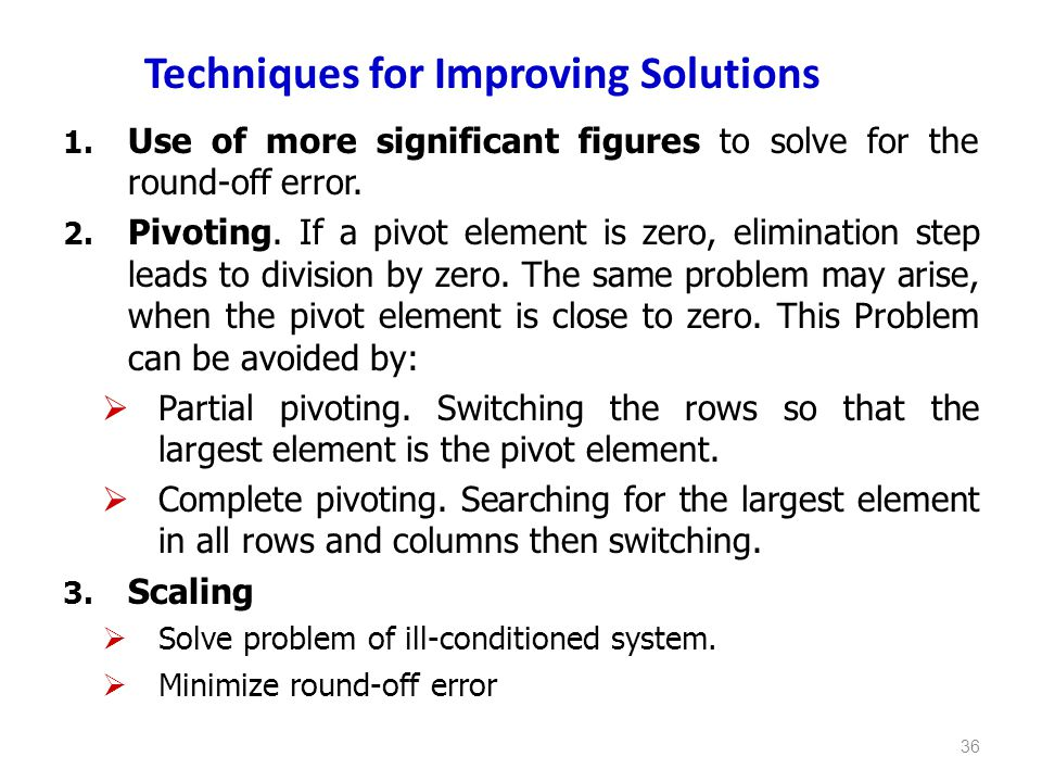Techniques for Improving Solutions