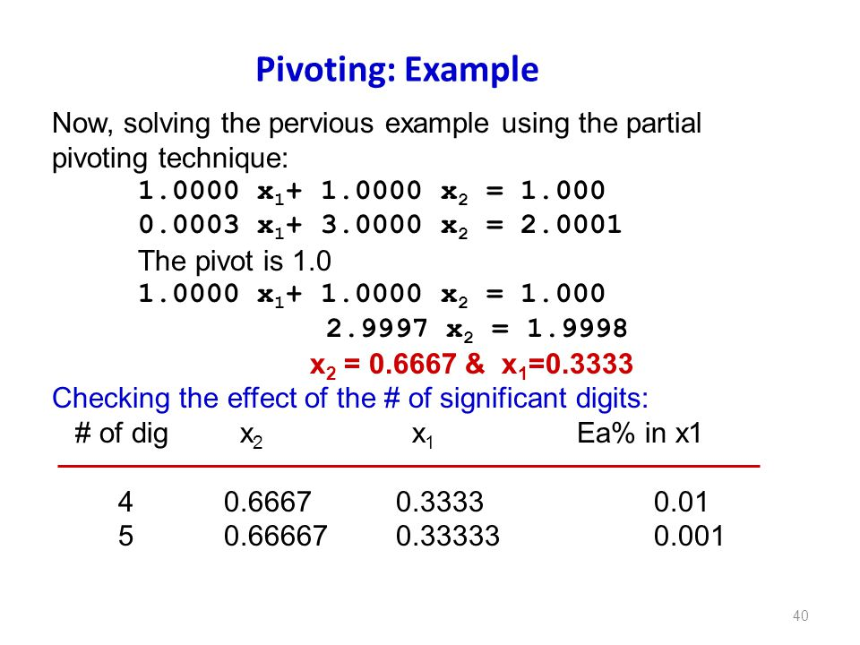 Pivoting: Example Now, solving the pervious example using the partial pivoting technique: x x2 =