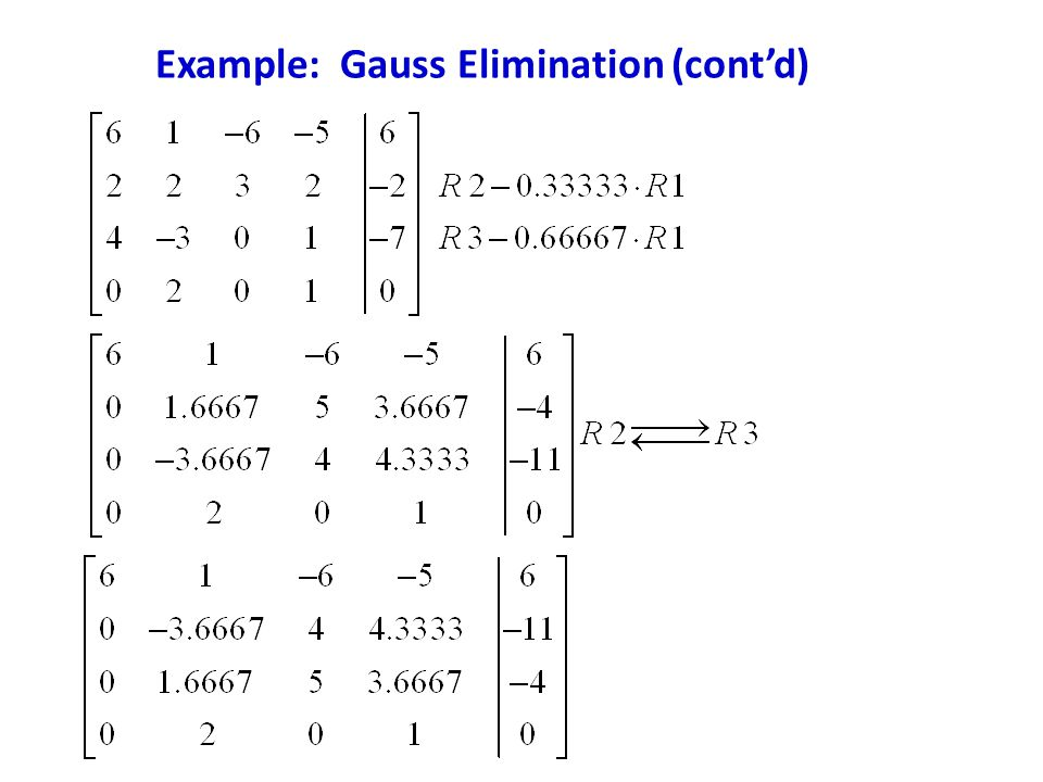 Example: Gauss Elimination (cont'd)
