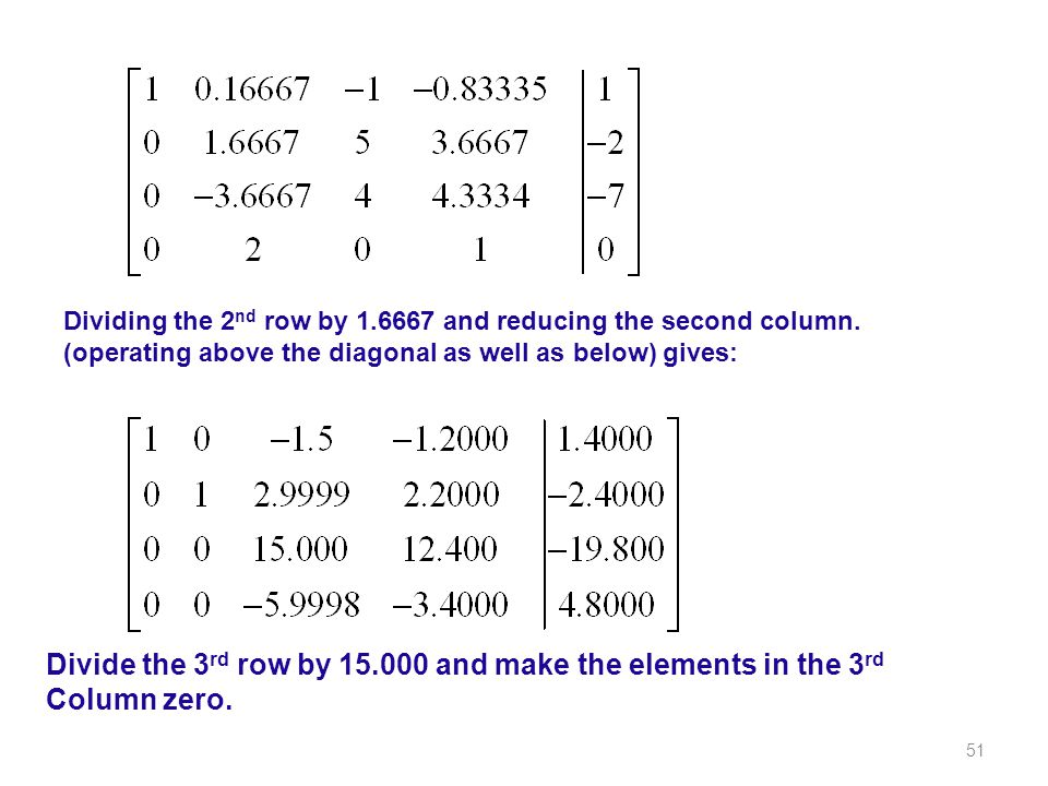 Dividing the 2nd row by and reducing the second column